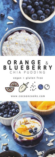 Creamy, rich and delicious Orange, Baobab & Blueberry Chia Pudding. A healthy vegan breakfast that happens to be yummy! #vegan #recipe
