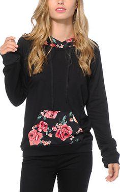 Lunachix Marissa Floral Pocket Hoodie