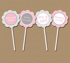 Chevron Baby Shower Cupcake Toppers - DIY Printable 2 inch Party Circles - Modern Pink Gray Polka Dots - INSTANT DOWNLOAD on Etsy, $5.00