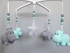 10 Cute Hippo Amigurumi Crochet Patterns Free and Paid Baby Knitting Patterns, Crochet Patterns, Crochet Toys, Knit Crochet, Crochet Hippo, Crochet Mobile, Baby Hippo, Baby Mobile, Mobiles