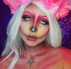 "1,701 Likes, 10 Comments - Dehsarae Khayah (@dehsonae) on Instagram: ""Pink Glitter Skull Did this look on @liveglam.co snapchat last night, Thank you to those who…"""