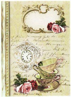 Ricepaper/Decoupage paper,Scrapbooking Sheets /Craft Paper Vintage It s Tea Time