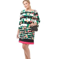 Floral and Stripe Dress Mid weight lined knit shift dress with boat neck and 3/4 sleeves, exposed back zipper. All over floral and stripe print with color block hem. Eliza J Dresses
