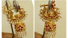 kundanalu jewellery To order Whatsapp 9849713635 Gold Jhumka Earrings, Jewelry Design Earrings, Gold Earrings Designs, Gold Jewellery Design, Gold Jewelry, Gold Bangles, Indian Wedding Jewelry, Bridal Jewelry, Long Pearl Necklaces