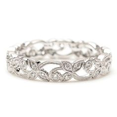 I have always loved eternity bands. I have always thought they should be the new engagement ring trend. So simple, classic and elegant. If I had a jewelry store it would be filled with them, especially the heirloom designs. Probably won't ever own a store, so here is my virtual one. What can I say, I love them!