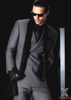 Armani - like this pose... contrasted formal wear while wearing shades but looking down to the side; Formal mens wear is not just a tuxedo.