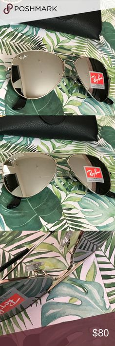 All silver mirrored Rayban aviator sunglasses Brand new  Never worn Super speedy shipping Feel free to ask questions  Everything in the photos are included Ray-Ban Accessories Sunglasses