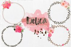 Hand-Painted Watercolor Wreaths by Lizamperini on Creative Market