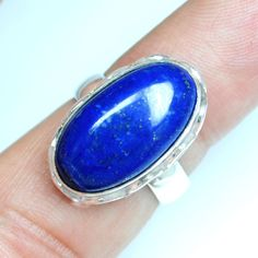 5.98 Gm 925 Sterling silver Natural Lapis Lazuli Rings 6 US Oval Design Jewelry