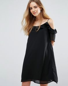 Buy it now. Pimkie Ruffle Cold Shoulder Dress - Black. Top by Pimkie, Midweight crinkled chiffon, Fully lined, Cold-shoulder neckline, Ruffle detailing, Loose fit � falls loosely over the body, Machine wash, 100% Polyester, Our model wears a UK S/ EU S/ US XS and is 176 cm/5'9.5� tall. ABOUT PIMKIE In 1971, French label Pimkie brought three textiles specialists together to create empowering collections that encourage women to express themselves, and the rest is fashion history. With a nod...