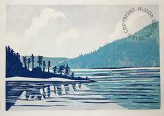 ORIGINAL lino print Leaving Saltery Bay by adeegan on Etsy, £37.00