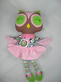 Custom Owl Doll Plush Owl Handmade Cloth Owl by cocomia on Etsy, $35.00