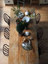 Rustic wood dining table
