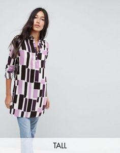 2f4eaff6e6 Noisy May Tall long sleeve graphic print shirt dress
