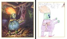 Children's Drawings Painted Realistically  The Monster Engine, a book and art exhibit created by Dave Devries, adds a professional touch to children's drawings.