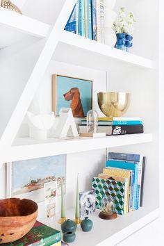 Emily Henderson Bookcase midcentury modern clean white accessories 1