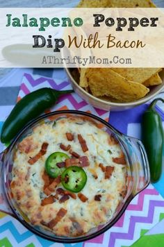 Jalapeno Popper Dip with Bacon, a quick and easy dip that is warm  and cheesy and will have your party guest asking for MORE, #PoppersDip, #...