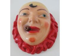 Vintage Chalkware Smoking Mime Clown Pierrot String Holder