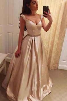 Elegant A-Line V-Neck Long Prom Dresses,Evening Dress Formal Dress, M87