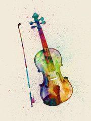 Violin Art - Violin Abstract Watercolor  by Michael Tompsett