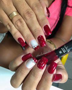 Lindo trabalho da @nailartemarilia 😍 Red Christmas Nails, Manicure, Red Nail Designs, Red Nails, Acrylic Nails, Polish, Nail Art, Instagram, Quiches