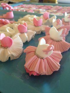 Tu tu cupcake toppers made from fondant