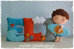 Love the colours on this for a boy  Surf- felt name banner