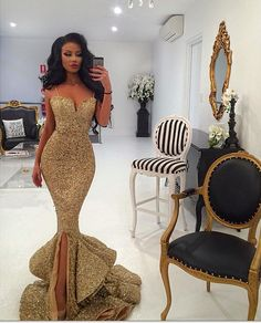 Straps Gold Sequins Mermaid Long Prom Dress Evening Dress with Slit