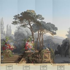 Zuber wallpaper mural, France Someday I hope to use this. Zuber Wallpaper, Scenic Wallpaper, Wall Art Wallpaper, Wallpaper Panels, Fresco, Art Decor, Decoration, Grisaille, Mural Painting