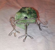 Wire wrapped frog sculpture by CrystalgicCreations on Etsy