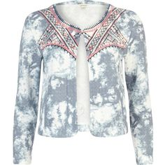 River Island Blue cloud print embroidered quilted jacket ($61) ❤ liked on Polyvore