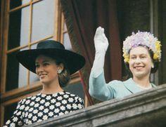 Princess (now Queen) Paola of Belgium and Queen Elizabeth 1966