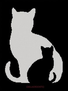 Kitten in Cat Silhouette Black White Afghan
