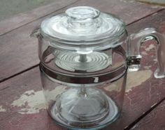 9 Cup Pyrex Flameware Coffee Percolator Range by lakesidecottage