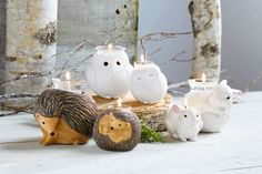 Nature's Love by PartyLite Igel, Eulen und Hasen Hérisson, Chouette, Lapin