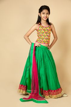 Silk choli embellished with thread and sequins work. Chanderi lehenga embellished with zardozi and sequins work