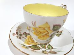 Sunset Paragon Tea Cup and Saucer, Yellow Rose Cup, Antique Tea Cups, Cottage Chic, English China, Vintage Tea Cups, Floral Tea Cup by AprilsLuxuries on Etsy Coffee Cups And Saucers, Tea Cup Saucer, Vintage Dishes, Vintage Tea, Yellow Tea Cups, Antique Tea Cups, Bone China Tea Cups, Tea Service, High Tea