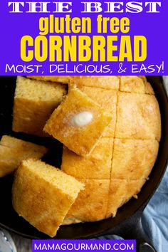 Gluten Free Cornbread recipe is so moist, delicious, and easy no one will know it's gluten free! This lightly sweet, southern-style cornbread uses only a few simple ingredients to make this effortless, one bowl reicpe. Dairy free adaptations included! #glutenfree cornbread #recipe #easy #muffins #dairyfree #sweet #stuffing