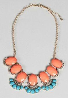Dottie Couture Boutique - Coral & Turq Statement Necklace $18