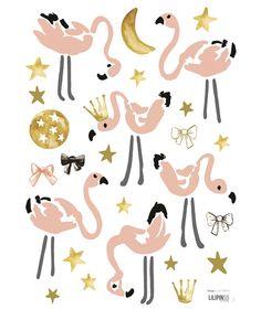 Flamingo Mini's - Muursticker (A3) van Lilipinso bij Grasonderjevoeten.nl