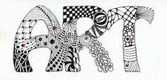 Simple Zentangle Patterns Letters | Just a little zentangle art as a bookmark for an exchange.