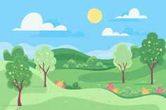 Artsy Background, Animation Background, Cartoon Garden, Fun Educational Games, Powerpoint Background Design, Photo Collage Template, Cute Frames, Landscape Concept, Spring Landscape