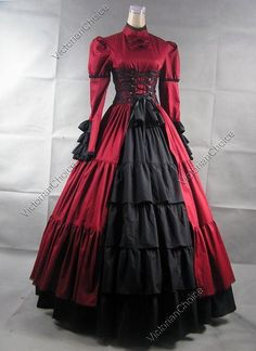 Victorian Gothic High Collar Corset Period Prom Dress Ball Gown Steampunk Theatrical Costume