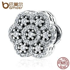 BAMOER Authentic 925 Sterling Silver Flower Charm with AAA Clearly Zirconia Charms Fit Women Bracelets Fashion Jewelry PAS388