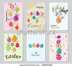 Happy easter greeting card with hand drawn lettering and doodle set of colored easter greeting cards design template creative cards posters label negle Images