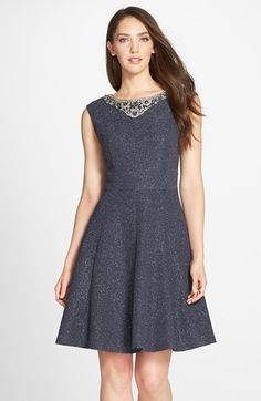 (Possible rehearsal dinner dress} Eliza J Crystal Embellished Metallic Fit & Flare Dress available at #Nordstrom