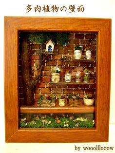 Primavera pared Suculentas terminó pájaro azul ♪ feliz, imagen Ardilla de padres e hijos | bambini Muñeca miniatura Casa Interior de la habitación