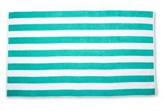 Cabana Stripe Beach Towel, Aqua Green