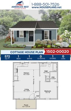 One Bedroom House Plans, Guest House Plans, Cottage Floor Plans, Small House Floor Plans, Cottage House Plans, Cottage Homes, Cottage Style, Cheap Tiny House, Shed To Tiny House