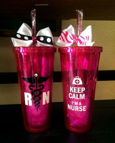 Customized Keep Calm I'm a Nurse 20oz Acrylic Cup with screw on lid and straw.